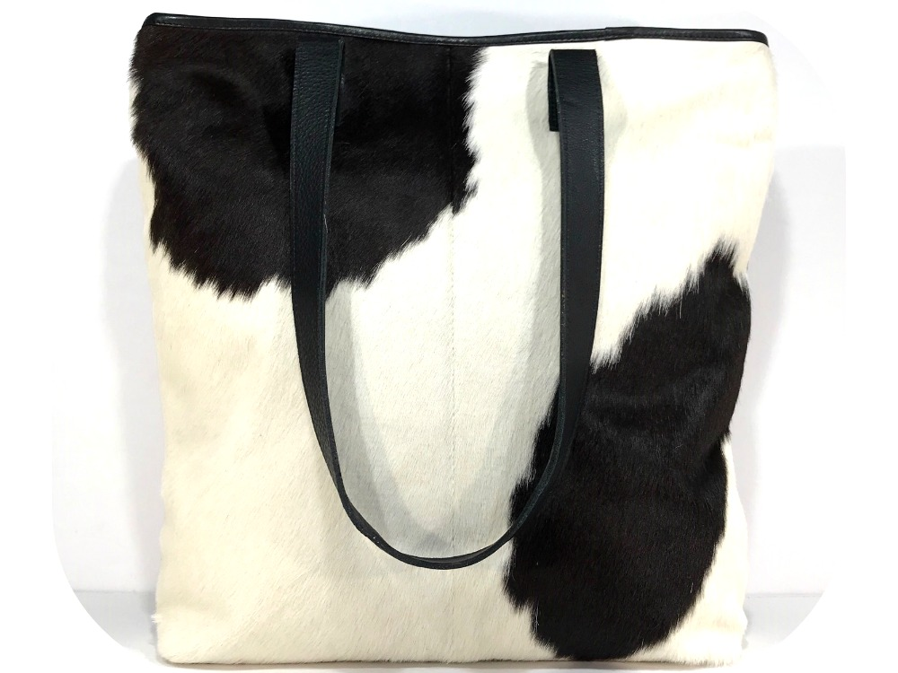 f44959287 Belle - Black and White Cowhide Tote Bag | Belle Couleur ®