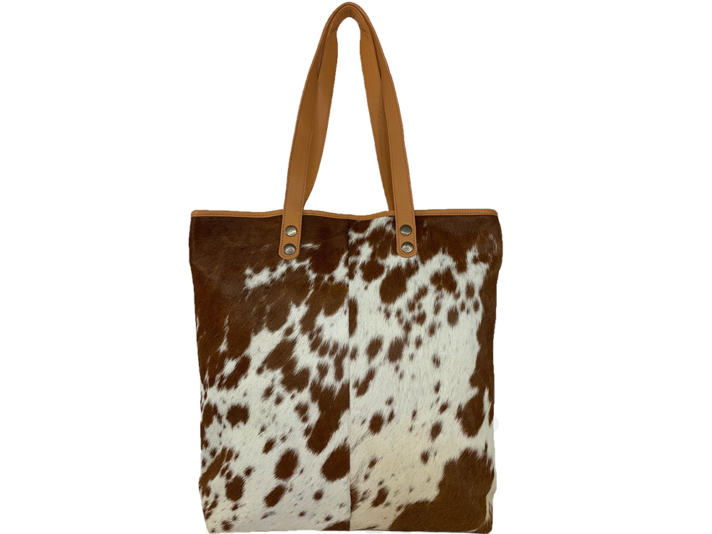 Belle Couleur - Belle Speckled Tan and White Cowhide Bag