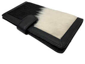 Zoe Black and White Cowhide Wallet