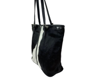 Belle Couleur - Adele Black and White Cowhide Bag