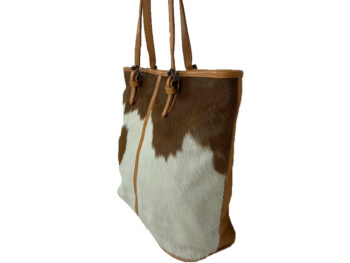 Belle Couleur - Adele Light Tan and White Cowhide Bag