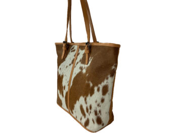 Belle Couleur - Adele Speckled Tan and White Cowhide Bag