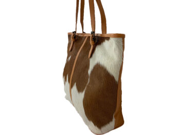Belle Couleur - Adele Tan and White Cowhide Bag