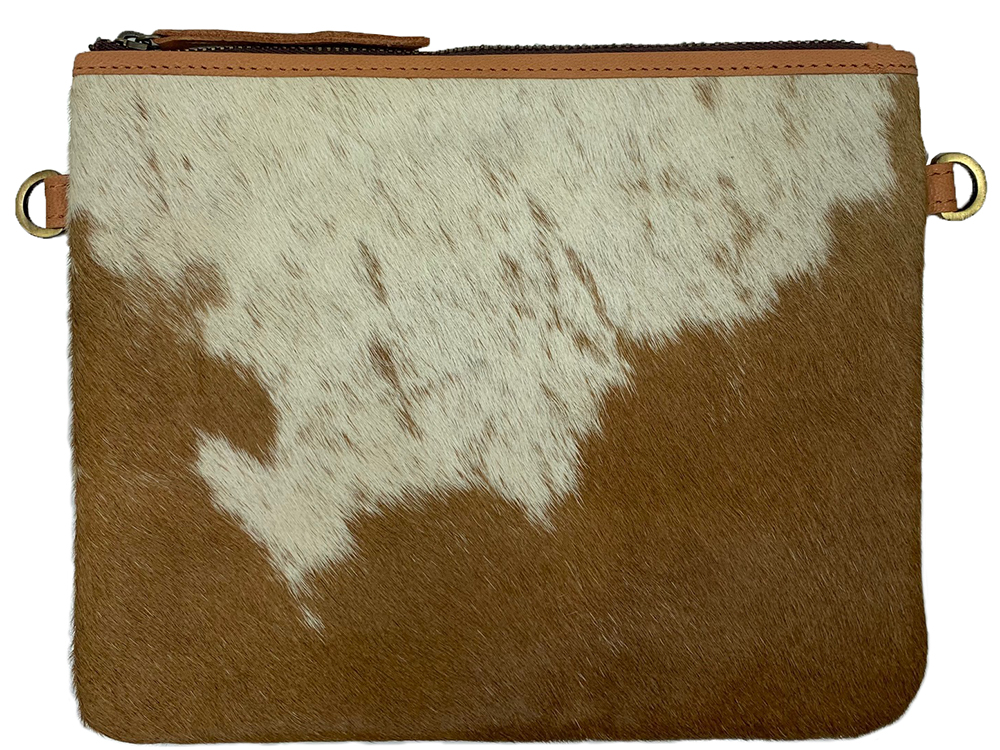 Belle Couleur - Emilie Flecked Tan and White Cowhide Bag