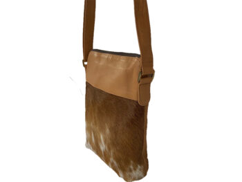 Belle Couleur - Harriet Flecked Tan and White Cowhide Bag