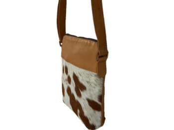 Belle Couleur - Harriet Light Tan and White Cowhide Bag