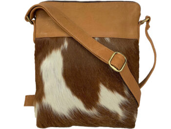 Belle Couleur - Harriet Tan and White Cowhide Bag