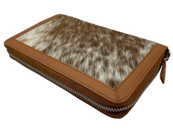 Belle Couleur - Colette Flecked Tan and White Cowhide Wallet