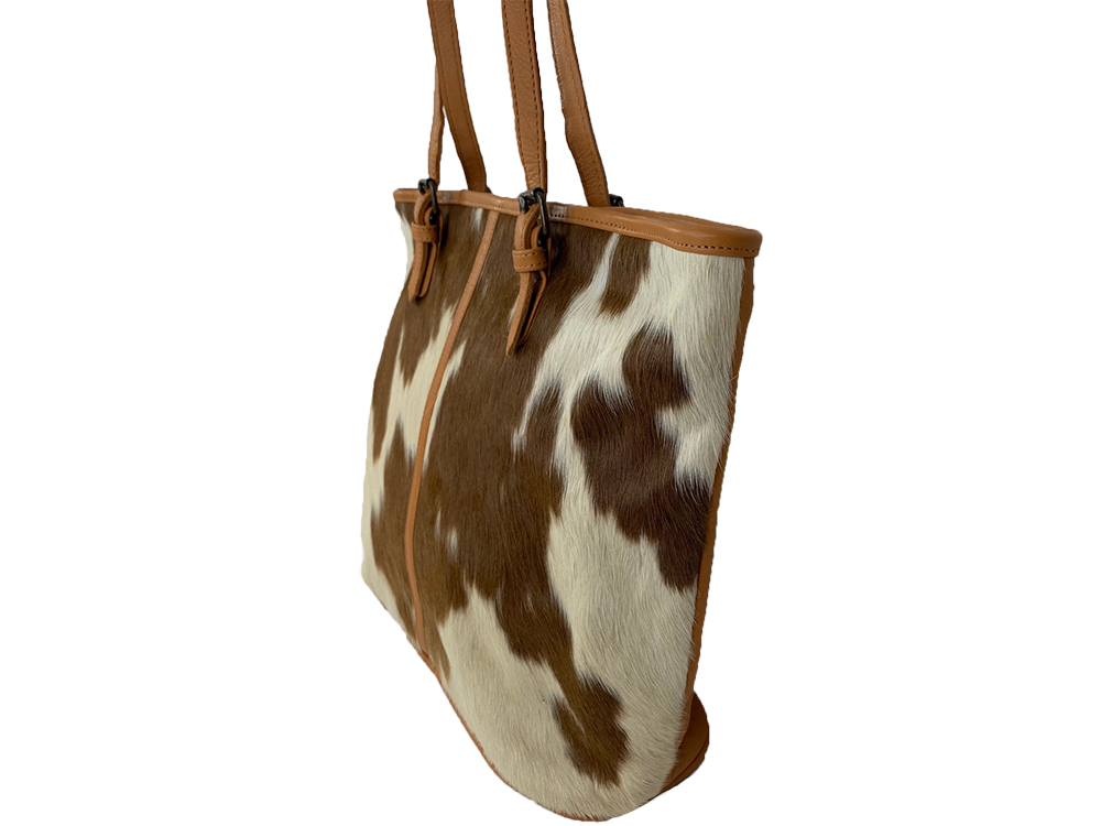 Belle Couleur - Adele Flecked Tan and White Cowhide Bag