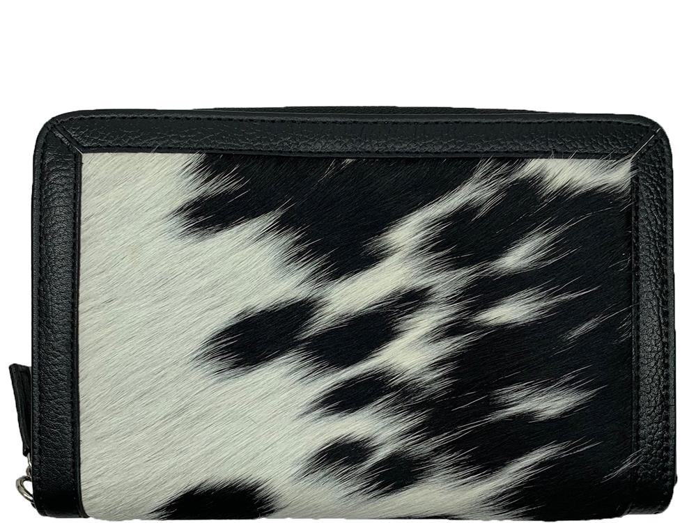 Belle Couleur - Colette Flecked Black and White Cowhide Wallet