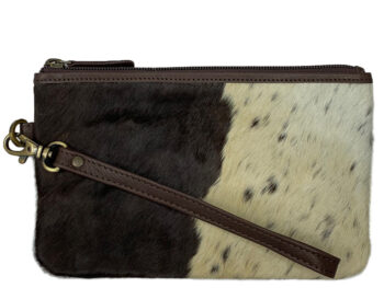 Belle Couleur - Clara Chocolate and White Cowhide Clutch