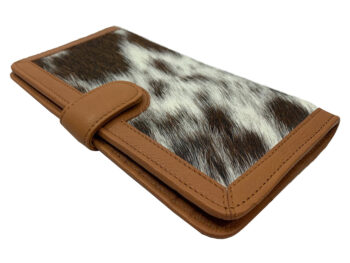 Belle Couleur - Zoe Flecked Tan and White Cowhide Wallet