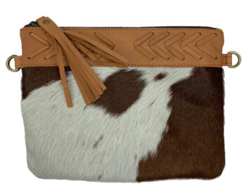 Belle Couleur - Gisele Light Tan and White Cowhide Bag