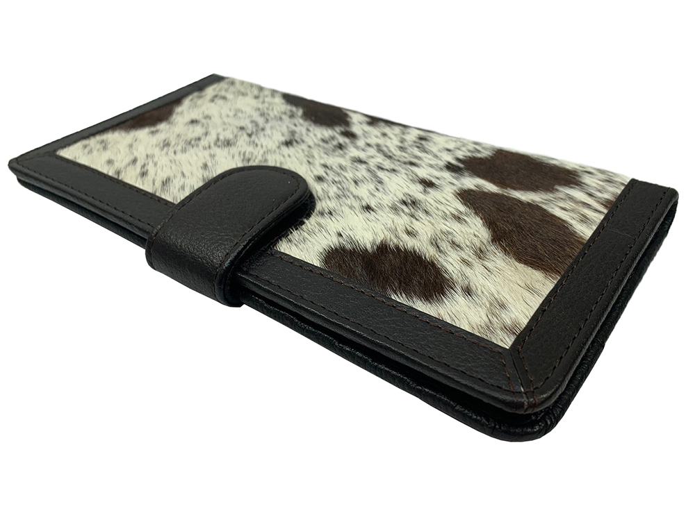 Belle Couleur - Zoe Speckled Chocolate and White Cowhide Wallet