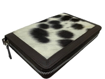 Belle Couleur - Colette Speckled Chocolate and White Cowhide Wallet