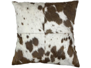 Belle Couleur - Chocolate and White Cowhide Cushion