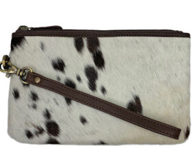 Clara Speckled Chocolate and White Cowhide Clutch