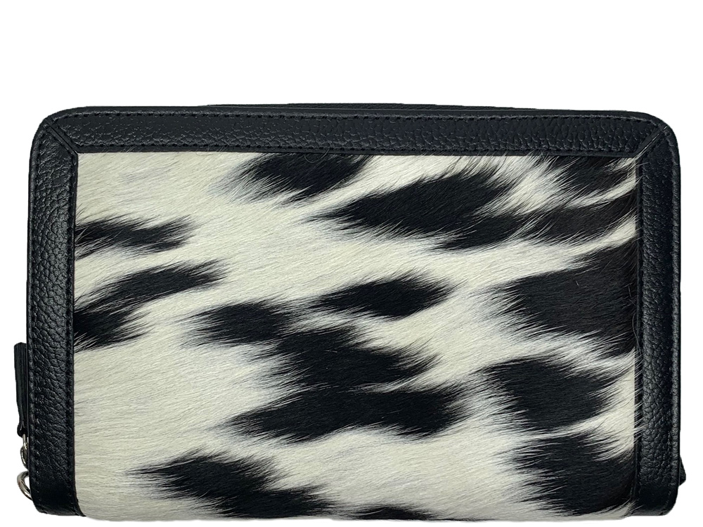 Belle Couleur - Colette Speckled Black and White Cowhide Wallet