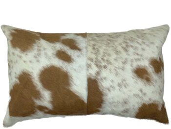 Belle Couleur - Tan and White Rectangle Cowhide Cushion