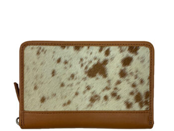 Belle Couleur - Patrice Light Tan and White Cowhide Wallet