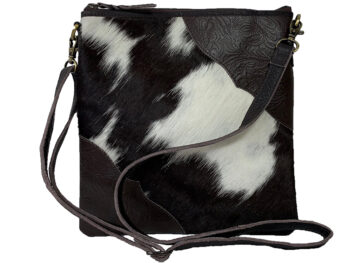Belle Couleur - Stella Chocolate and White Cowhide Bag
