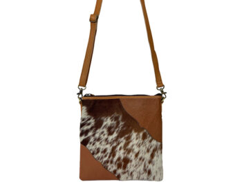 Belle Couleur - Stella Flecked Tan and White Cowhide Bag