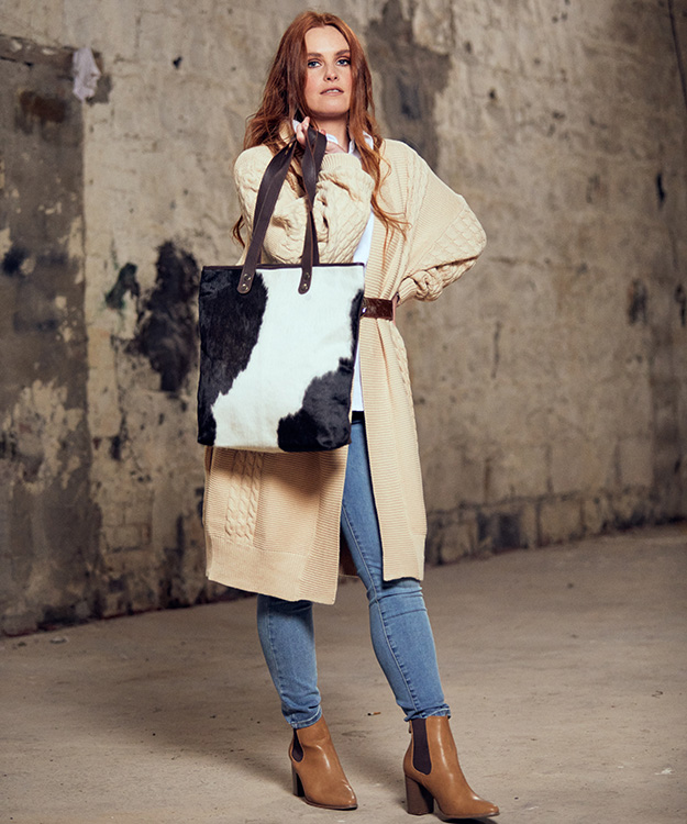 Belle Chocolate and White Cowhide Bag