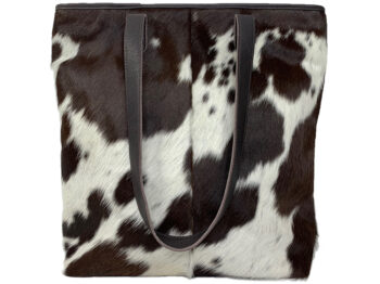 Belle Couleur - Belle Flecked Chocolate and White Cowhide Bag