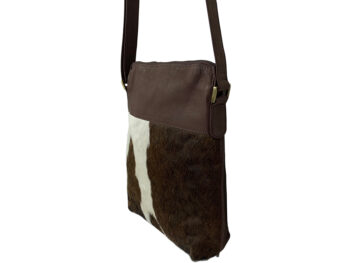 Belle Couleur - Chocolate and White Cowhide Bag