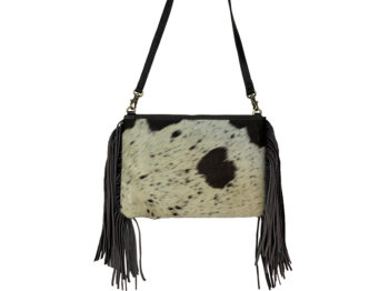 Belle Couleur - Claudine Chocolate and White Cowhide Bag