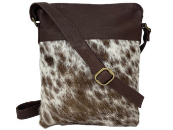 Belle Couleur - Harriet Flecked Chocolate and White Cowhide Bag