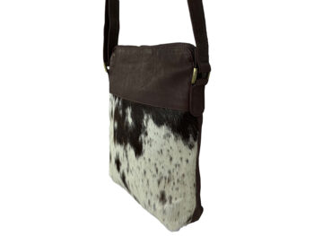 Belle Couleur - Harriet Speckled Chocolate and White Cowhide Bag