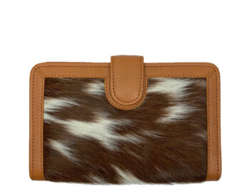 Belle Couleur - Isabelle Dark Tan and White Cowhide Wallet