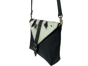 Belle Couleur - Mila Black and White Cowhide Bag