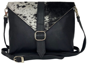 Belle Couleur - Mila Speckled Black and White Cowhide Bag detail