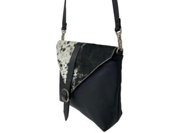 Belle Couleur - Mila Speckled Black and White Cowhide Bag
