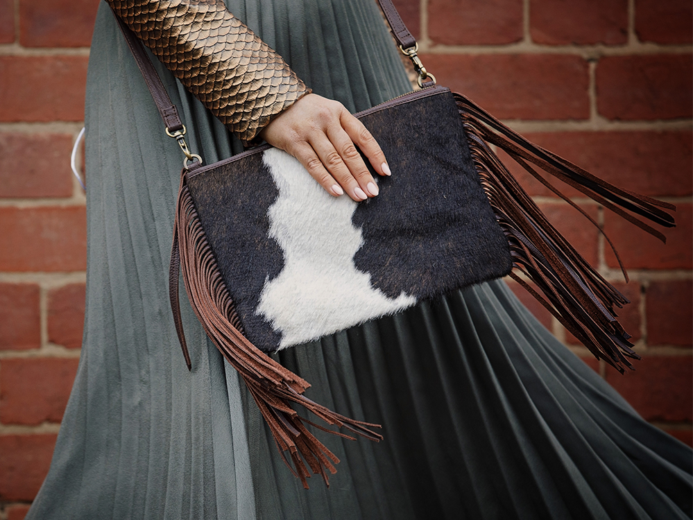 Claudine Chocolate and White Cowhide Tassel bag