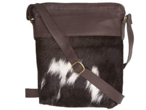 Harriet Chocolate and White Cowhide Bag
