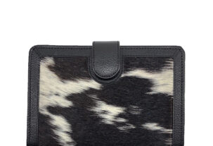Isabelle flecked black & white cowhide wallet