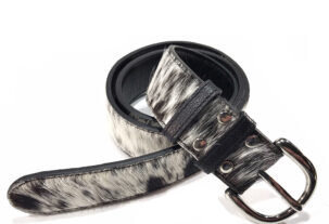 Marie Belt (wide) - black & white cowhide