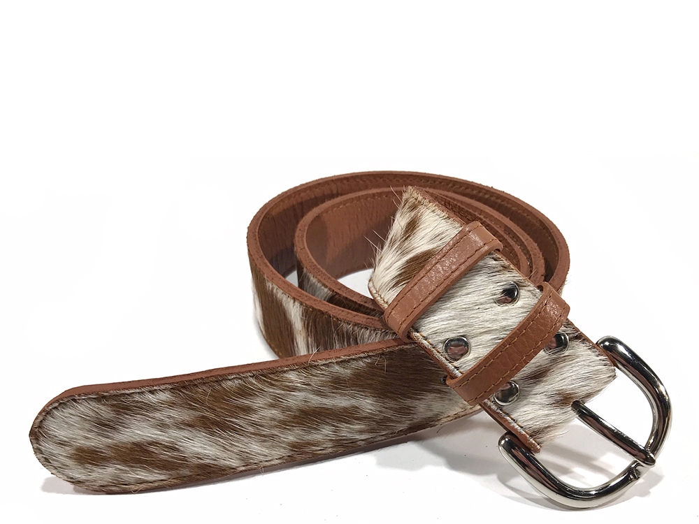 Tan and White Cowhide Belt