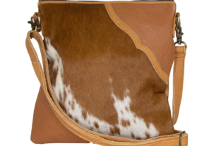 Stella dark tan and white cowhide bag with shoulder strap