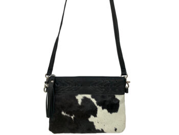 Belle Couleur - Gisele Speckled Black and White Cowhide Bag