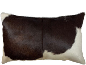 Rectangle Chocolate and White Cowhide Cushion