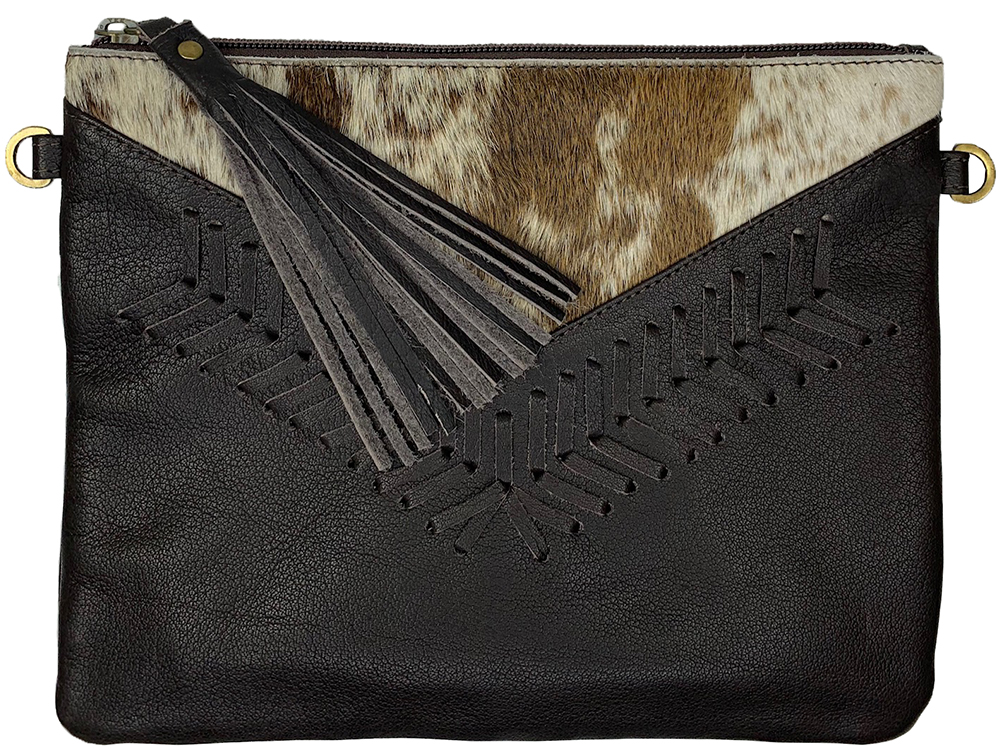 Belle Couleur - Blaise Flecked Chocolate and White Cowhide Bag