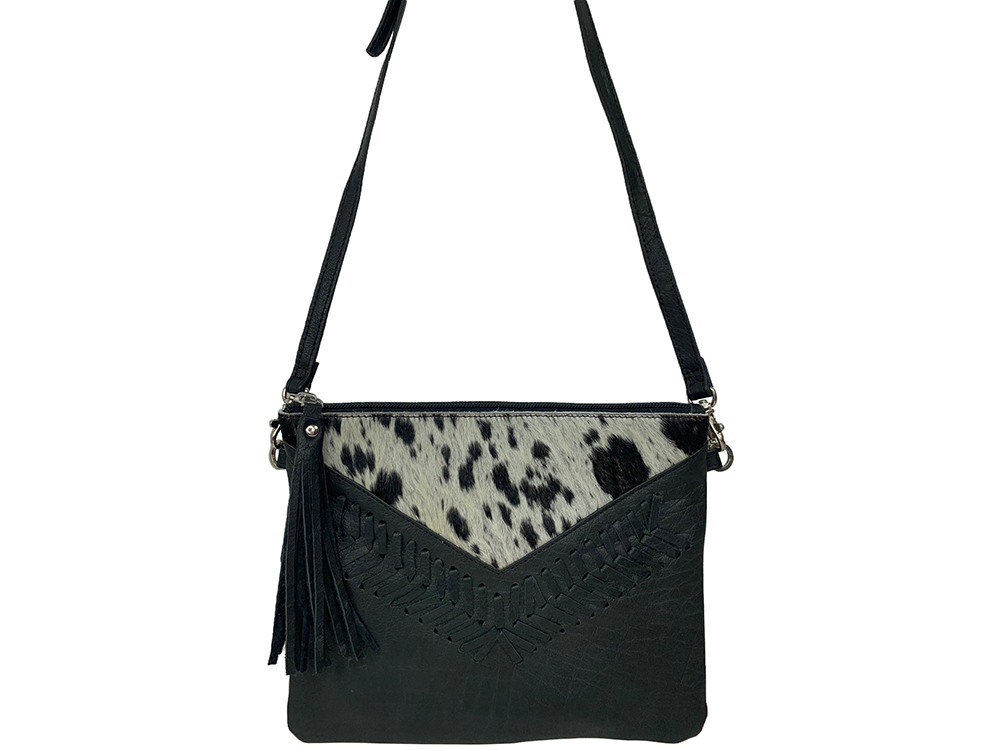 Belle Couleur - Blaise Speckled Black and White Cowhide Bag