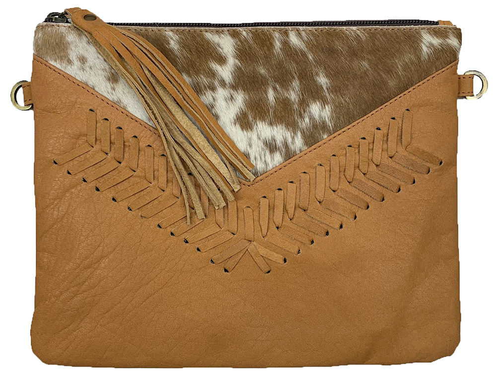 Belle Couleur - Blaise Speckled Tan and White Cowhide Bag