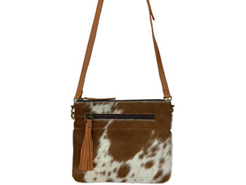 Belle Couleur - Manon Tan and White Cowhide Bag