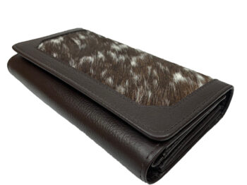 Belle Couleur - Odette Dark Chocolate and White Cowhide Wallet