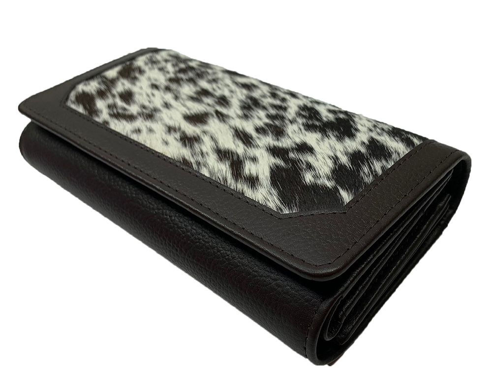 Belle Couleur - Odette Chocolate and White Cowhide Wallet